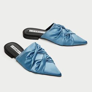 NWT Zara US 6 Sky Blue Sating Flats Mules